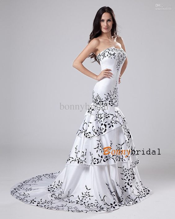 Black and White Bridal Gowns - White Dresses » Elegant Black And ...