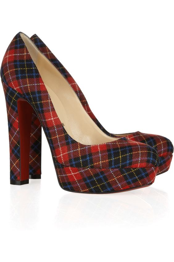 Love these for holiday.   Great with a navy blazer and a pair of jeans.  Christian Louboutin | Bibi 140 tartan pumps | NET-A-PORTER.COM