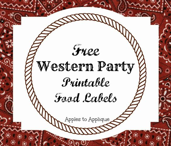 FREE Printable Food Labels For Western-Themed Party