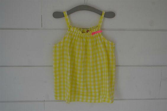 Débardeur en coton vichy jaune citron NKY - 5 Ans