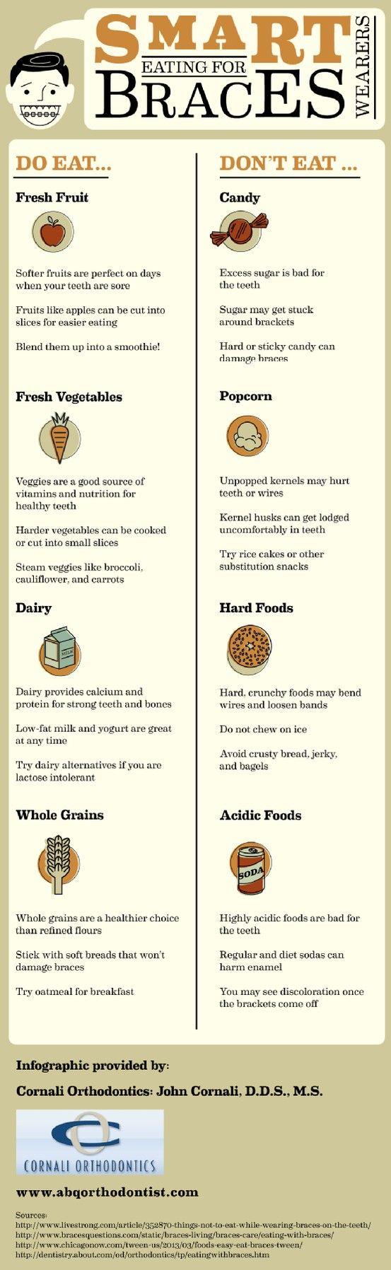 If you've just started orthodontic treatment, you're probably wondering what kinds of food are safe to eat while wearing braces. Candy and hard or crunchy foods can bend wires and loosen bands, so it's best to stick with soft, nutritious foods. Take a look at this infographic to learn more.: