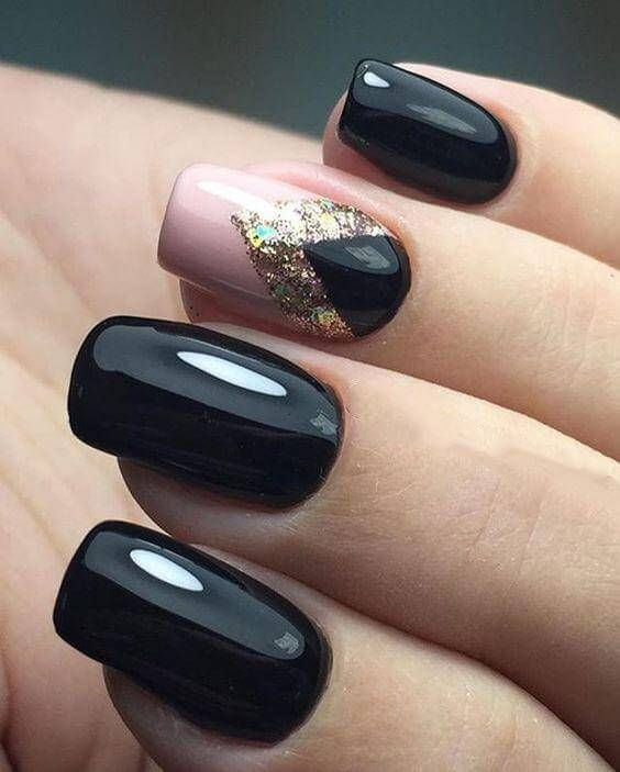 Incredible Black Nails Designs For Dark Colors Season Nail Art Manicure Black Nail Designs Black Nails