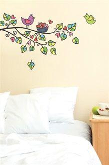 Sticker Árbol, Pájaros y Corazones<br>Verde y Rosa