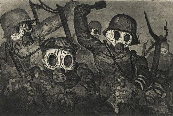 Otto Dix - Tropas de asalto avanzan bajo el gas