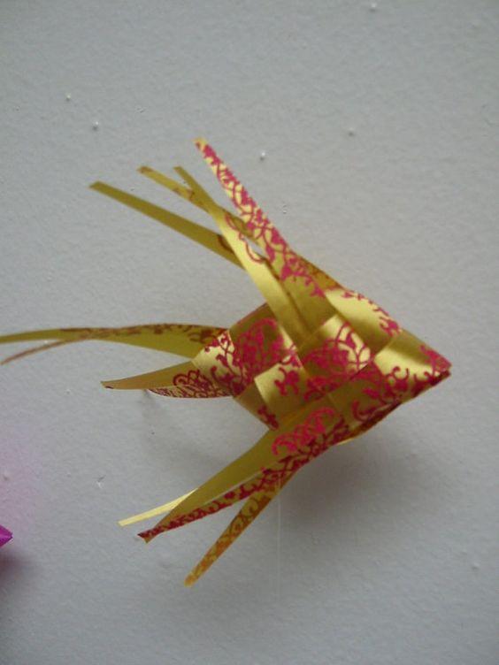 Ribbon Fish Mobile/embossed gold/hot pink by LenasFishMobilesEtc, $55.00