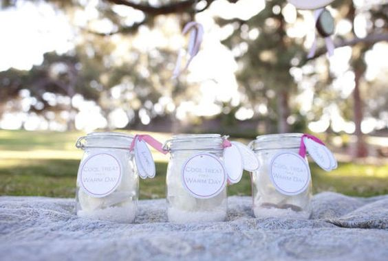homemade ice cream in a jar wedding favor by City Cradle design