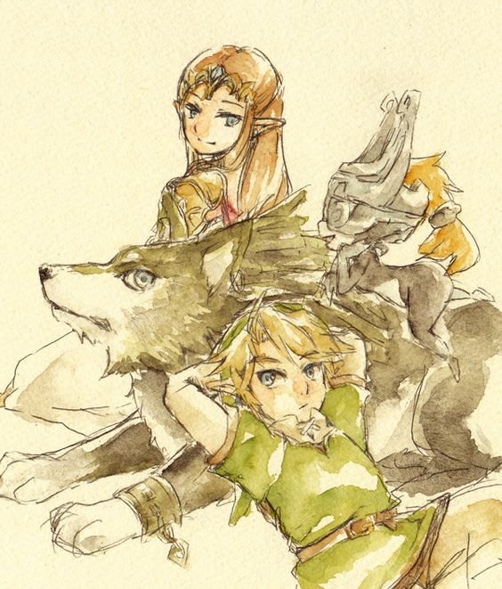 Link, Wolf Link, Zelda, and Midna