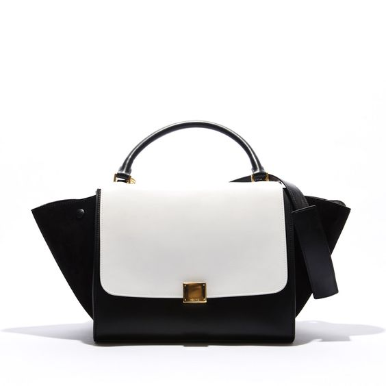handbags celine - Celine Trapeze Black & White Bag With Long Strap available at ...