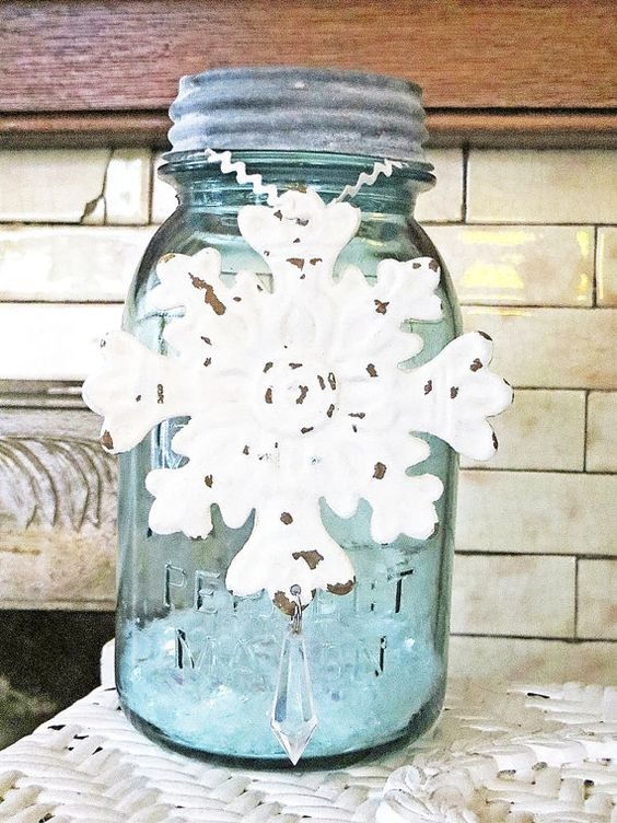 blue ball jar snowflake winter home decor by