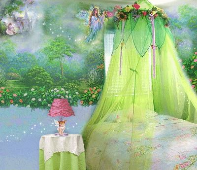 Fairy bedroom- we have this canopy, have always wanted to paint a woodland fairy/animal mural.