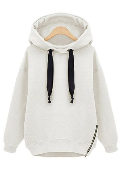 White Hooded Long Sleeve Drawstring Loose Sweatshirt