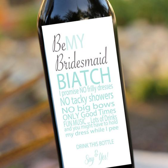 Bridesmaids Gifts Will you be my bridesmaid Wedding Wine Labels- Wine Bottle Label