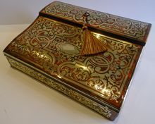 Magnificent Antique French Tortoiseshell and Brass Boulle Lap Desk / Writing Slope c.1850: