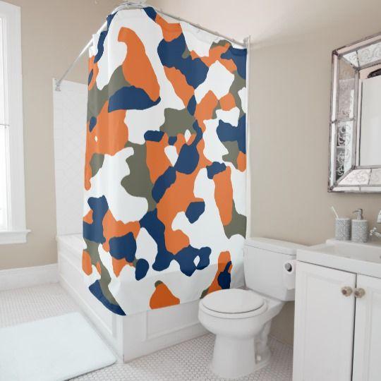 navy blue orange shower curtain