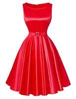 2016 Pin Up Robes Plus Size Femmes Robes D'été Noir rouge Rétro Casual Parti…