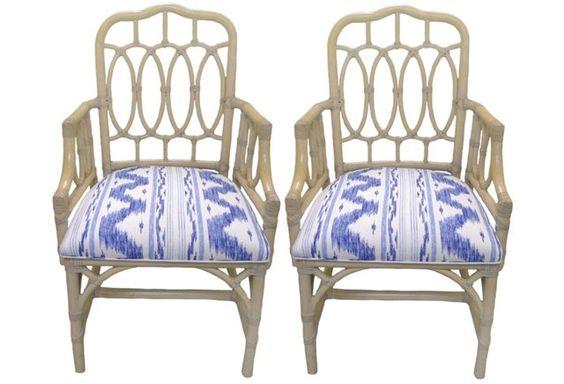 Rattan Loop-Style Armchairs,  Pair