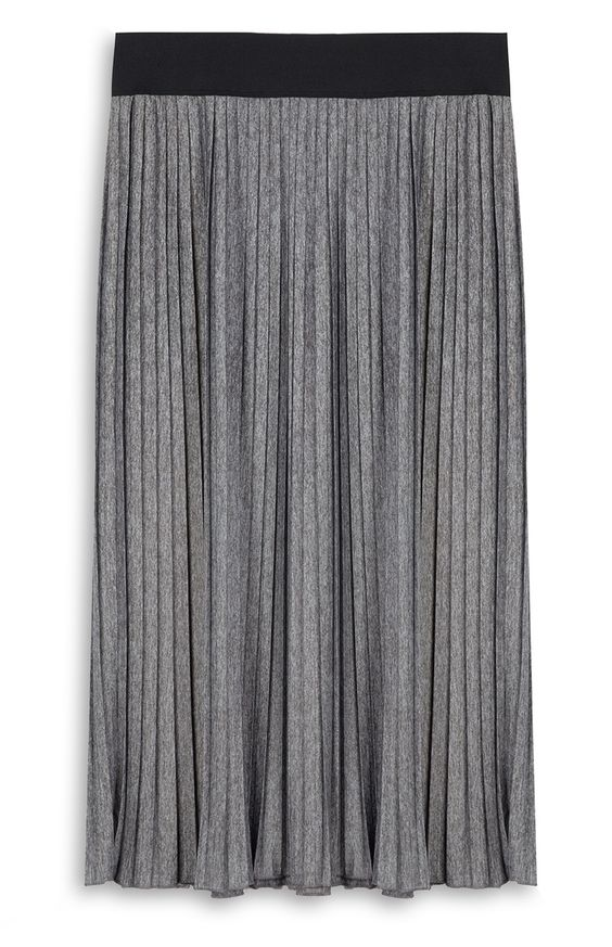 Primark - Falda plisada gris de punto 12e