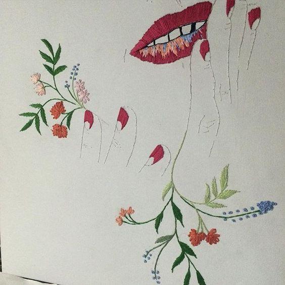 Bordado em tela, antes da intervenção da @aratelesart. | embroidery on canvas, before an artist friend intervention. #hoopart #embroidery #illustration #artwork