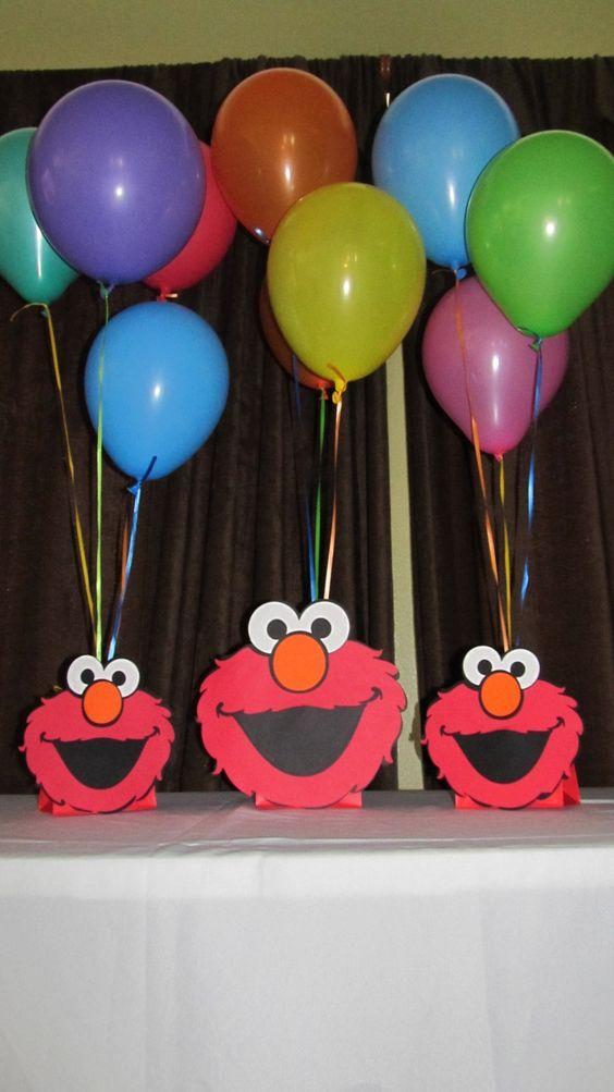 Elmo party centerpiece centerpieces balloon