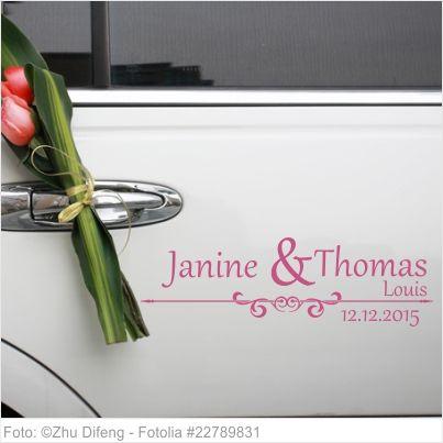 Autoaufkleber Hochzeit Vornamen der Familie mit Ornament 02