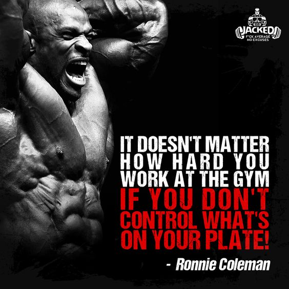 """It doesn't matter how hard you work at the gym if you don't control what's on your plate!"" - Ronnie Coleman #healthyfood #bodybuilding #gymwork #jacked #eatclean #ronniecoleman"