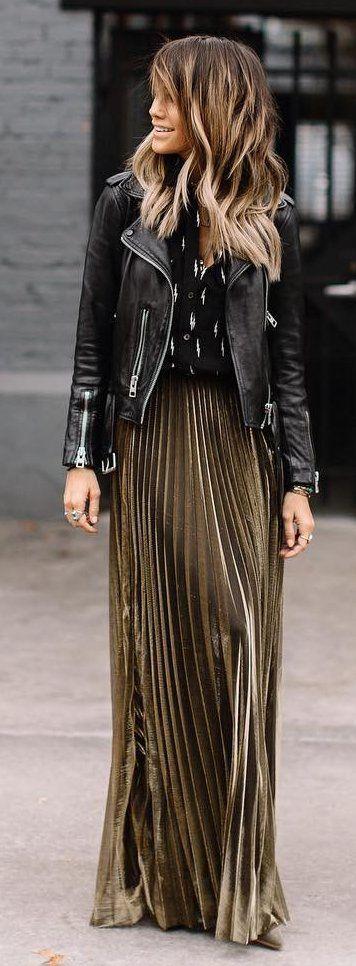 #winter #fashion / Black Leather Jacket / Green Pleated Maxi Skirt