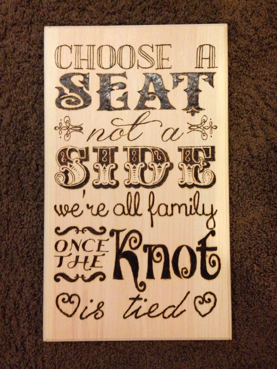 A seating sign I wood burned for Liz and Vinny's wedding.
