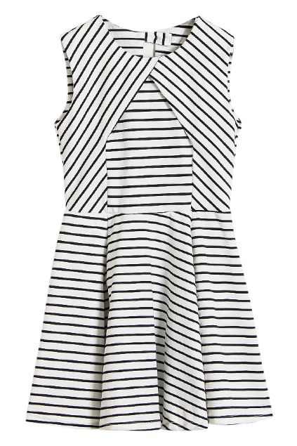 White Stripe Cut-out Back Shift Dress