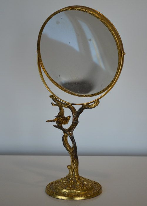 Vintage art nouveau gold filigree bird and branches stand for Gold stand up mirror