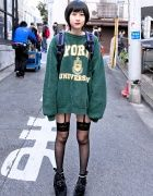 Oversized Sweatshirt, Garter Stockings & Velvet Platform Shoes in Harajuku