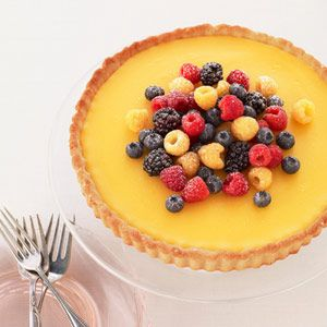 Lemon Berry Tart Recipe - Redbook Ahh, reminds me of England. Though, I don't think I could ever make one nearly as good