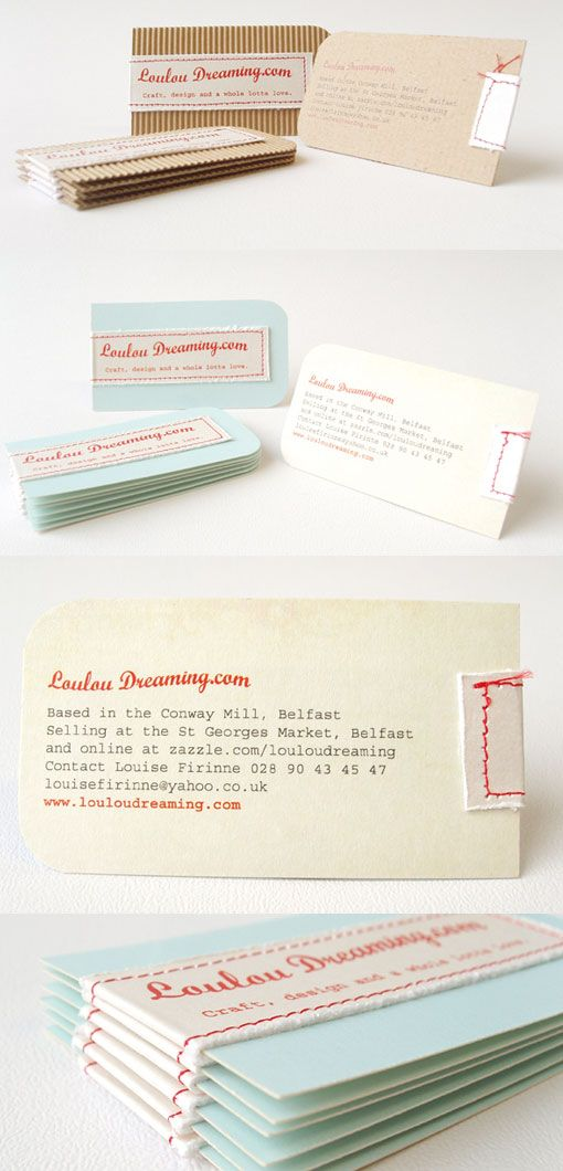 hand-stitched business cards: Unique Business Cards, Biz Card, Vintage Business Cards, Stitched Business, Card Design, Cool Business Cards, Businesscard