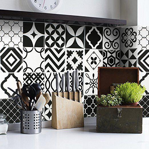 Amazon Com Smart Tiles Peel And Stick Backsplash And Wall Tile Vintage Bilbao Home Improvement Smart Tiles White Tile Backsplash Stick On Tiles