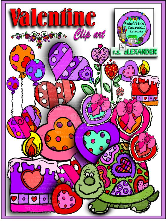 Fun and colorful Valentine's Day clipart   created by rz aLEXANDER, eMBELLISH yOURSELF  aRTWORKS!  https://www.teacherspayteachers.com/Store/Rz-Alexander
