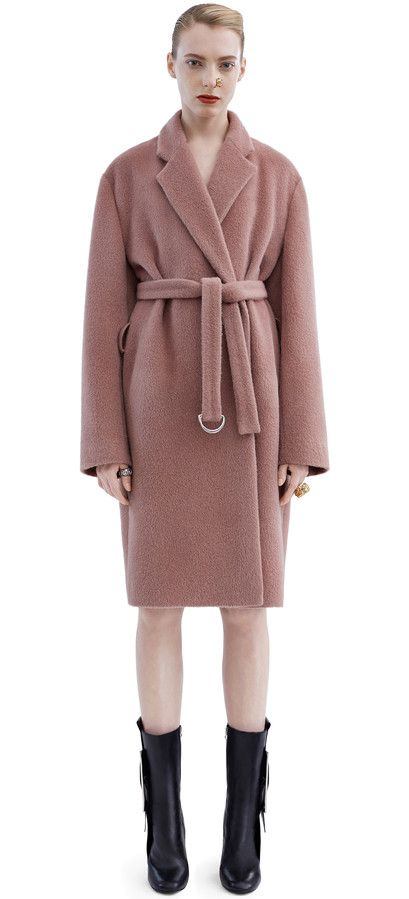 Acne Studios Elga Hairy Dusty Pink Robe inspired coat | |LB