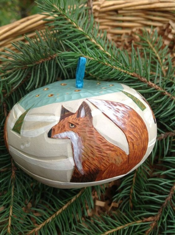 Original Art Fox Four Foxes Gourd Snow Hand Carved Christmas Ornament Gryka | eBay
