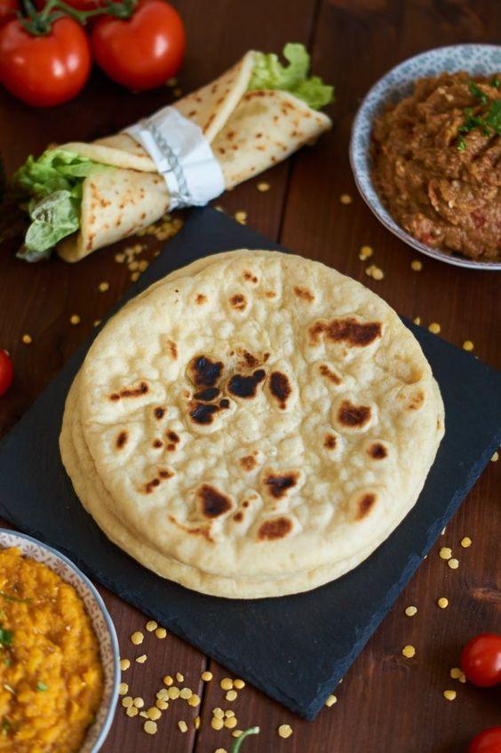 Indisches Naan aus der Pfanne