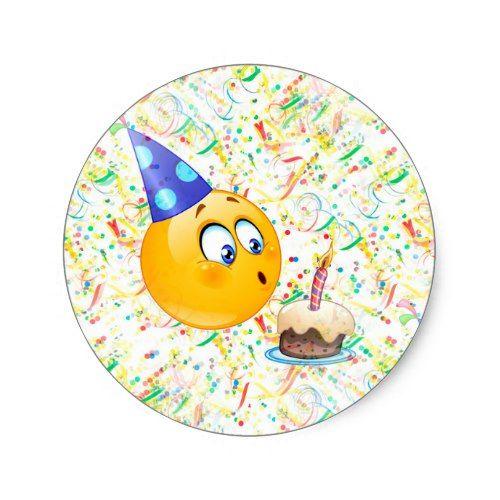 Happy Birthday Emoji Classic Round Sticker Zazzle Com Happy