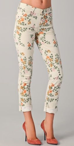 Floral Roll Up Jeans