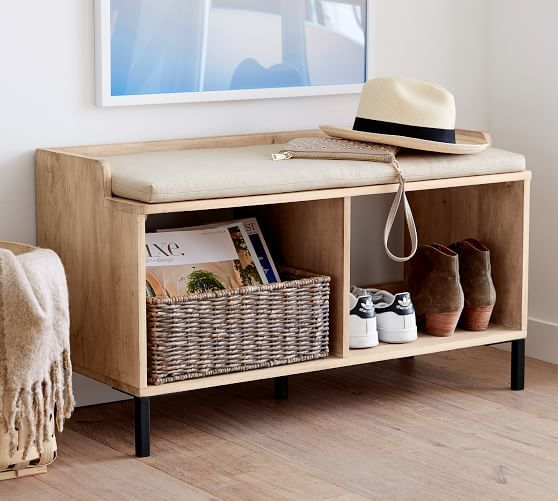 Murphy Entry Bench Pottery Barn In 2020 Entry Bench Bench With Storage Furniture For Small Spaces