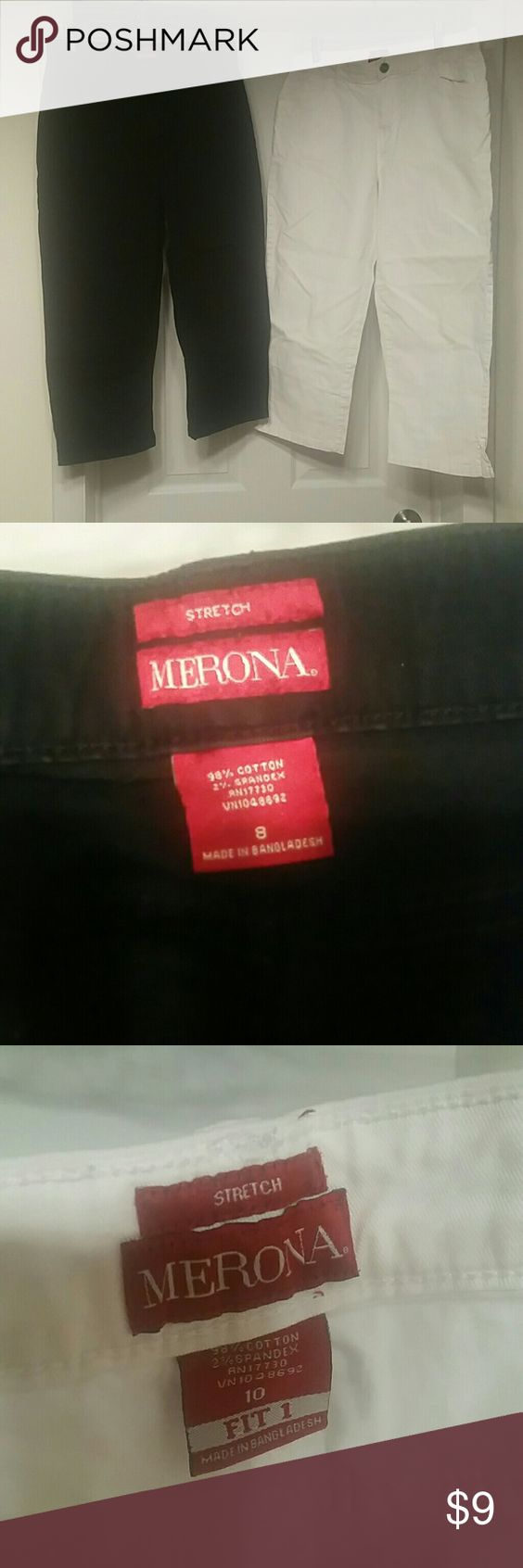 Merona Capri cropped  Pants size 8 and size 10 Black size 8, white size 10. $9 each . Would discount on bundles.  My mom lost weight n just gave me over 30 pair of pants for me to sell for her,  most of them capris.  Brands are Dockers,  Calvin Klein Jeans,  Liz Claiborne,  Morena and Gloria Vanderbuilt.  All of them are like brand new.  None of them have been worn more than twice.  Really!   I WOULD LOVE TO PERSONALIZE A BUNDLES FOR YOU. JUST ASK ME! Merona Pants Capris