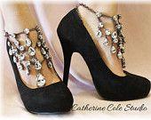 CRYSTAL NOIR Barefoot sandals foot jewelry wedding shoes bridal bridesmaid prom eveningwear beach wedding Shoes Catherine Cole Studio SJ5