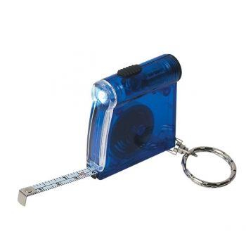 Customized Tape Measure LED Flashlight Key Chain - Translucent Blue