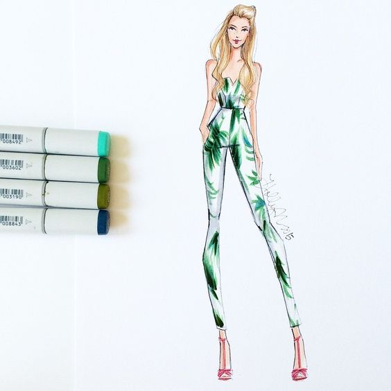 This palm leaf jumpsuit? 100% obsessed. But I'll leave it for @blakelively to rock  #fashionsketch #fashionillustration #fashionillustrator #blakelively #palmleaf #bananaleaf #copicart #copicmarkers #bostonblogger #prsrv #preserve #preserveus #CopicDesign