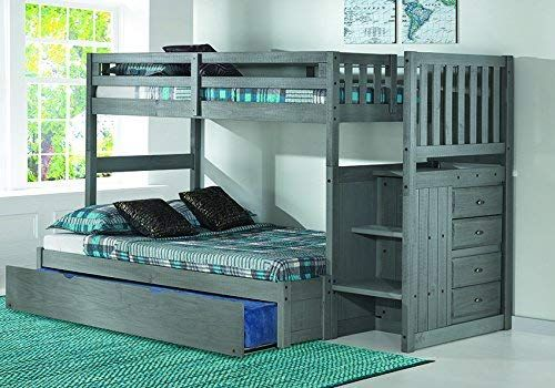 Discovery World Furniture Charcoal Twin Over Full Stair Bed With