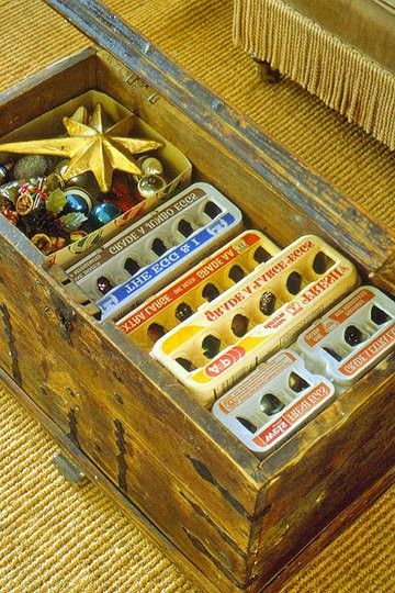 "If you have holiday decorations to take down, here are a couple of storage ideas to consider.  Repurpose egg cartons to use as storage for ornaments. (via Unconsumption's ""holiday things"" Pinterest board)  If you'll be storing items in a basement or attic, reuse packets of desiccant, if you have some (e.g., from purchases of shoes or purses); toss them in to help keep things dry.      Use empty coffee cans to help keep strings of lights organized. Store spare bulbs and the st:"