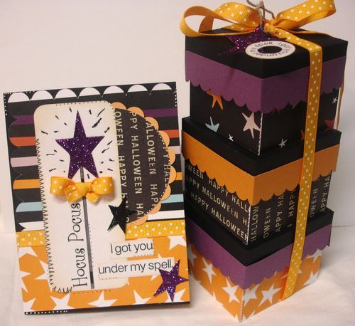 Stack purple orange and black boxes like this, cut a whole in the bottom of each and one in the very top of the top one, and use it as a wedding card collector