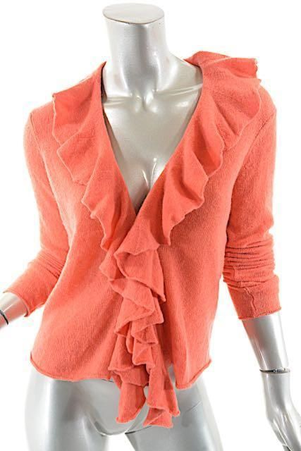 Christopher Fischer Coral 100% Cashmere Ruffle Front Cardigan Sweater - Sz L…