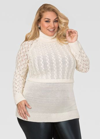 Turtle Neck Layered Cable Sweater