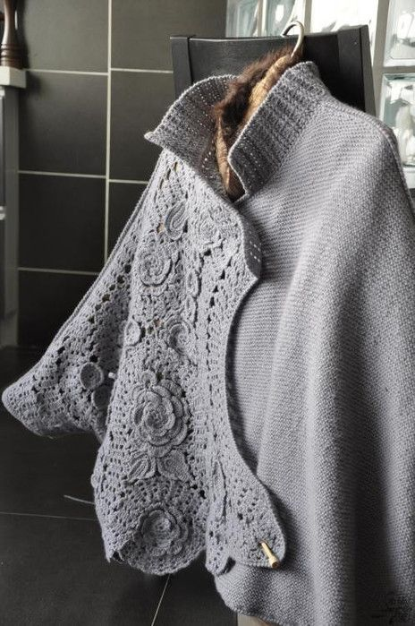 Combination of knitting and crochet. And it has gorgeous detail on the back. ...
